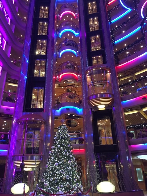 The Christmas tree in the brightly lighted Centrum
