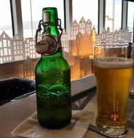Enjoying Grolsch in the Dutch Cafe...which happened frequently during our c