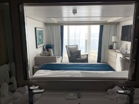 View from the bathroom through the suite to the ocean. The bathroom mirrors
