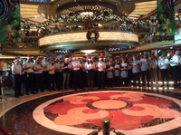 Ship's crew and officers carol singing