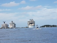 Our boat (Oasis of the Seas) on the far right as compared to another Royal
