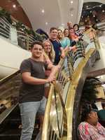 A family photo on the cruise stairs
