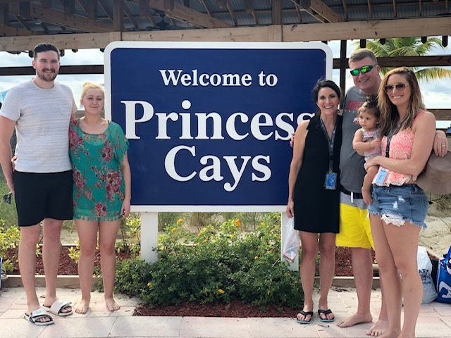 Family photo at Princess Cays Bahamas.