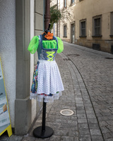 German dirndl on display outside a shop in captivating Bamberg, Germany.