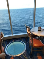 This is the view from the buffet. Note the floor porthole looking straight