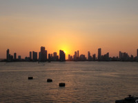 The view from our balcony of Cartagena, Columbia at sunset