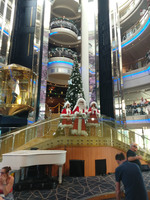 A view of the main atrium stairs on Christmas Day on the Discovery 2