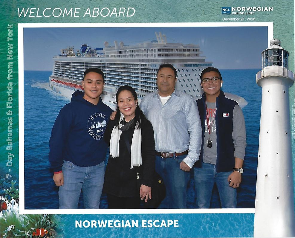 Upon boarding the Norwegian Escape on 12/21/18