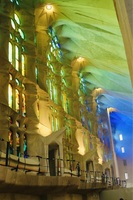Inside lighting of Sagrada Familia Cathedral, Barcelona.