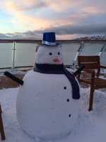 Snowman on rear deck