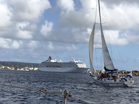 Beautiful Bonnaire on the Compass Sailing excursion. 10 people, 2 crew and