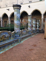 Visiting a very old monastery in Naples. Beautiful inlaid mosaic benches an