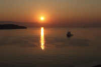 This is a photo of the sunrise as we sailed into Corfu, Greece.