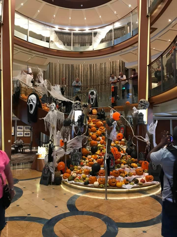 main atrium decorated for Halloween
