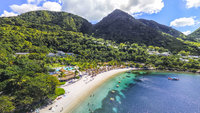 Jalousie Bay, beach between the Pitons. Spencer Ambrose tours can take you