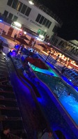 The ship pool deck at night