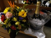 flowers and champagne (organised by mother in law)