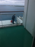 One of the crew doing maintenance outside our balcony