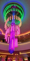 Chandelier in the atrium changes color