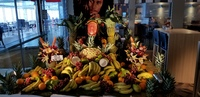 Beautiful display of carved fruits and veggies for Jamaican Night in the Ga