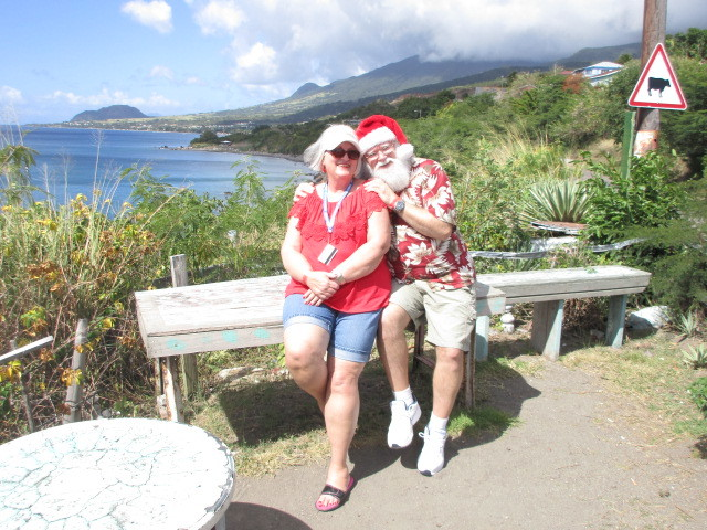 Santa and Sandy Claus chillin' on vacation
