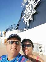 Learning to take selfies! Near the rear of the ship, close to the smoke sta
