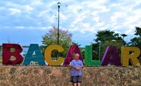 Myself at the Bacalar sign.
