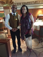 Our dining room server Manuel and my wife Audre'