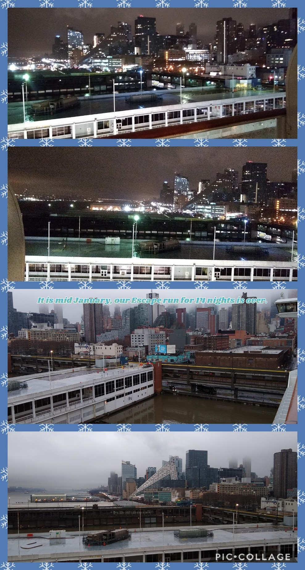 Pre-dawn arrival for early disembarkation, Pier 88 - Manhattan Cruise Termi