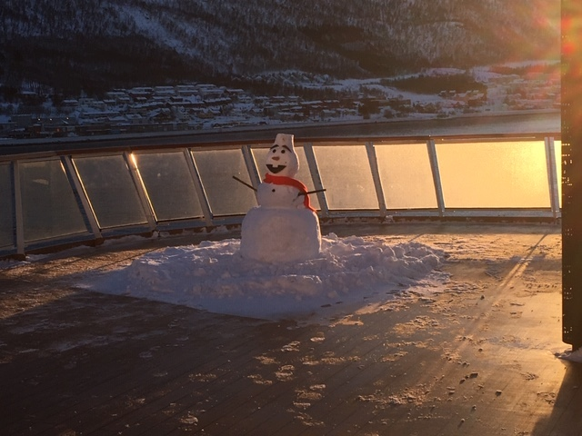 Snowman built by the crew on the Aquavit Terrace.