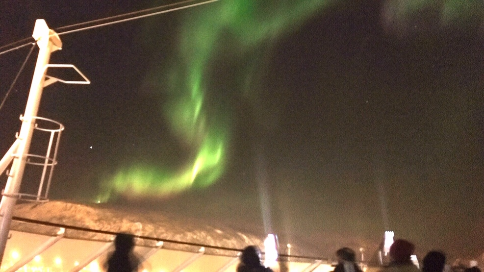 View of the Northern Lights from the ship.  The display lasted about 35 min