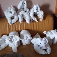 Our animal towels for each day of our new Zealand cruise.