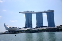 View of the Marina Bay Sands Hotel from a river cruise in Singapore