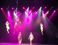 Arial acrobatics at showtime