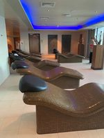 Heated tile chairs in the spa