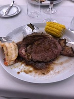 Presentation of Prime Rib (I moved the lobster to the side of the plate).