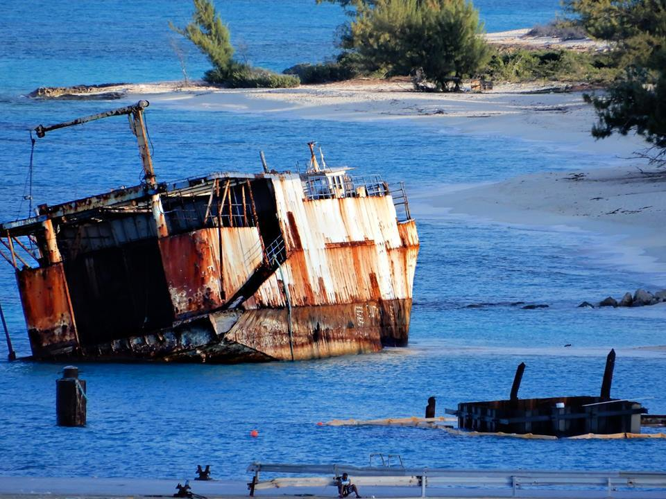 Governor's Beach wreck, Grand Turk. Will one day become a new coral ree