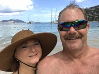 My husband and I on the beach in Tortola.