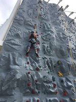 Rock climbing on the ship.
