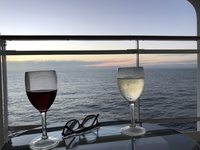 Wine on the balcony in the evening of the first day on board
