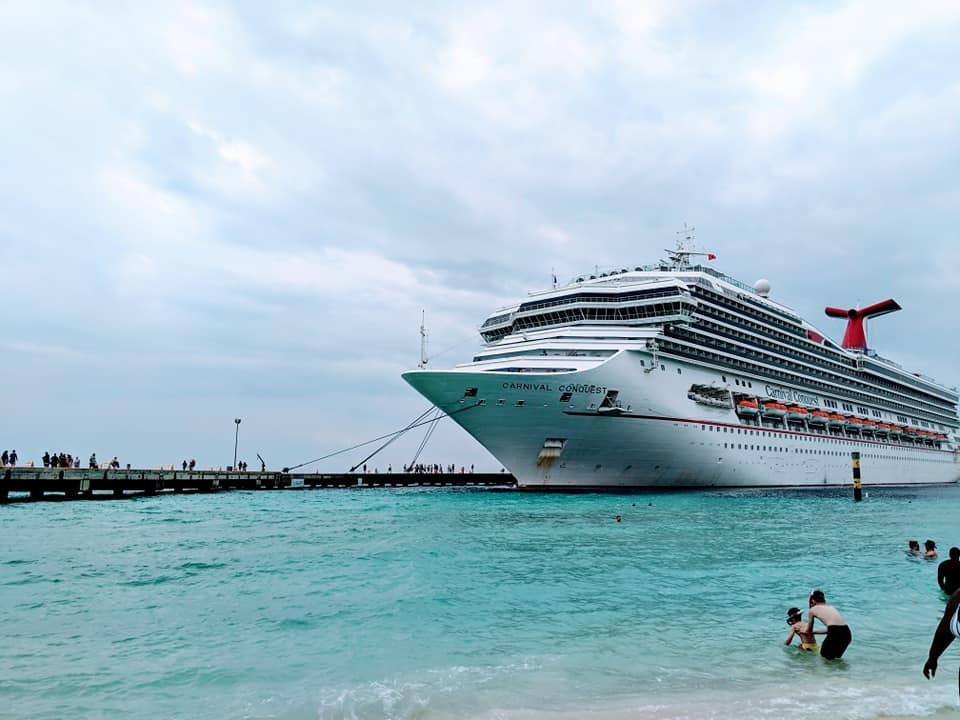 The view of the ship from the beach in Grand Turk