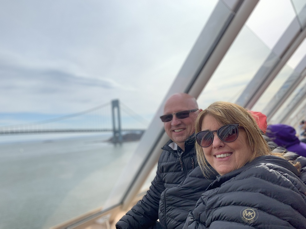 Sailing out of Manhattan under the Verrazano bridge.