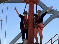 My friend and I tackling the rope course!