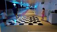 The kids liked the giant checkerboard.