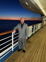 My sexy husband on the first elegant night. Deck 3, also a smoker.