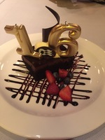 Special birthday dessert in the Crown Grill