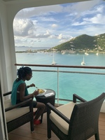 Babygirl eating breakfast when we embarked in St. Thomas I believe. We love