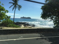 Coming back from our excursion in Kona. Looking at the ship.