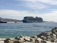 Looking back at our ship from Cabo