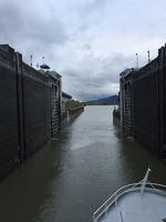Going through the lock at the Bonneville Dam, Multnomah County, Oregon.